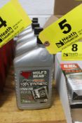 (5) QUARTS OF WOLF'S HEAD SAE 5W-30 SYNTHETIC BLEND HIGH MILEAGE MOTOR OIL