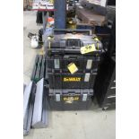 DEWALT PORTABLE TOOL STATION WITH THREE TOOLBOXES AND MODEL DWST08820 TOUGH SYSTEM RADIO AND