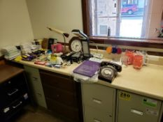 ASSORTED OFFICE SUPPLIES, OLD DIAL PHONE, LIGHTS, ELECTRIC STAPLER, ETC.