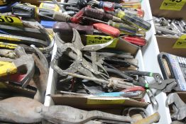 LARGE QTY OF PLIERS, CHANNEL LOCKS, VISE GRIPS, ETC
