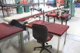 """ASSEMBLY TABLE, 58"""" X 29"""" X 26"""". WITH PNUEMATIC AIR DRIVER ON ARTICULATING ARM"""