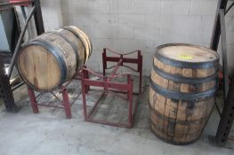 (2) OAK WHISKEY BARRELS WITH STANDS