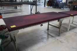 """STEEL FRAME WORK BENCH WITH WOOD TOP, 96"""" X 39"""" X 36"""""""