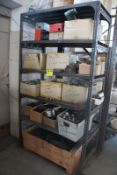 SHELVING UNIT WITH CONTENTS OF BREAKERS, STARTERS, HANGERS, FUSES, ETC.