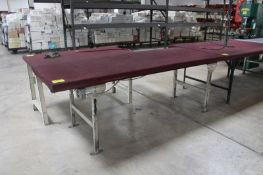 """STEEL FRAME WORK BENCH WITH WOOD TOP, 96"""" X 38"""" X 36"""""""