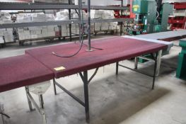 """STEEL FRAME WORK BENCH WITH WOOD TOP, 96"""" X 48"""" X 36"""""""