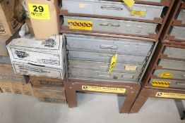 """LAWSON FOUR DRAWER PARTS CABINET, 15"""" X 20"""" X 17"""", WITH CONTENTS AND STAND"""