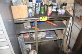 """STEEL SHELVING UNIT WITH CONTENTS & GARDEN TOOLS, 36"""" X 15"""" X 18"""""""