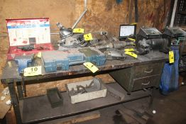 """5"""" BENCH VISE WITH 72"""" X 36"""" X 34"""" WOOD TOP STEEL FRAME WORKBENCH"""