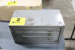 HUOT THREE DRAWER LETTER DRILL CABINET WITH DRILLS