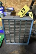 SMALL PARTS CABINET WITH ASSORTED HARDWARE