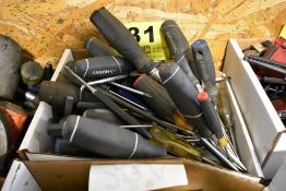 ASSORTED WRENCHES, PLIERS, CHANNEL LOCKS,ETC. IN BOX