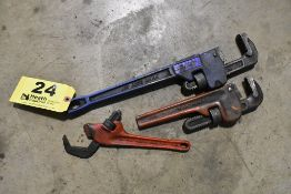 (3) ASSORTED PIPE WRENCHES