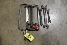 VISE GRIP CLAMP, (2) HACK SAWS, (2) WRENCHES