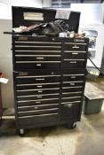 CRAFTSMAN FOURTEEN DRAWER ROLLING TOOL CABINET WITH EIGHT DRAWER TOOL CHEST