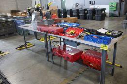 """(2) STEEL FRAME TABLES, EACH 60"""" X 24"""" X 34"""""""