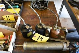 ASSORTED OIL CANS & GREASE GUN