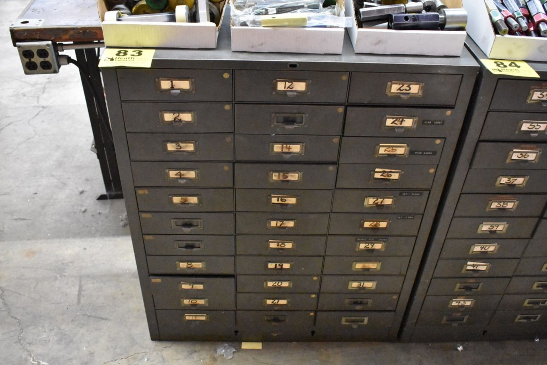 THIRTY THREE DRAWER STEEL TOOL CABINET WITH MISC. GAGES - Image 2 of 4