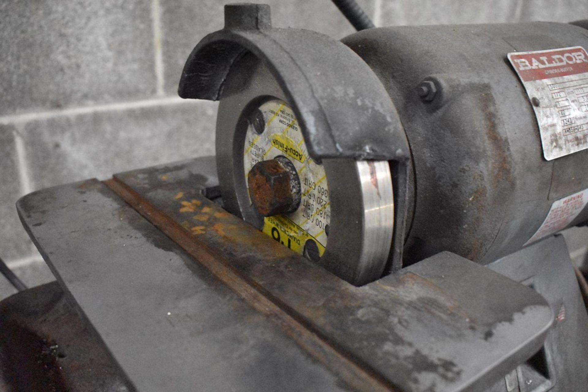BALDOR ½ HP PEDESTAL DOUBLE END CARBIDE TOOL GRINDER, S/N A-559-343 - Image 3 of 7