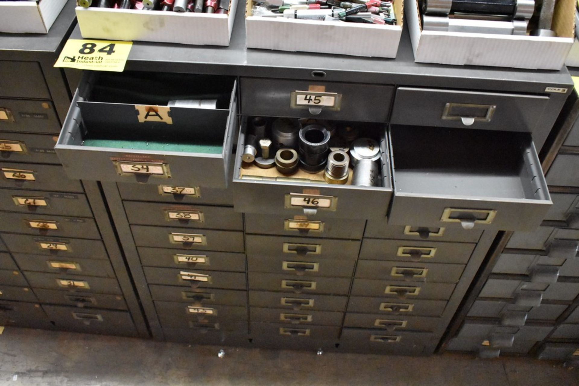 THIRTY THREE DRAWER STEEL TOOL CABINET WITH MISC. GAGES - Image 4 of 4