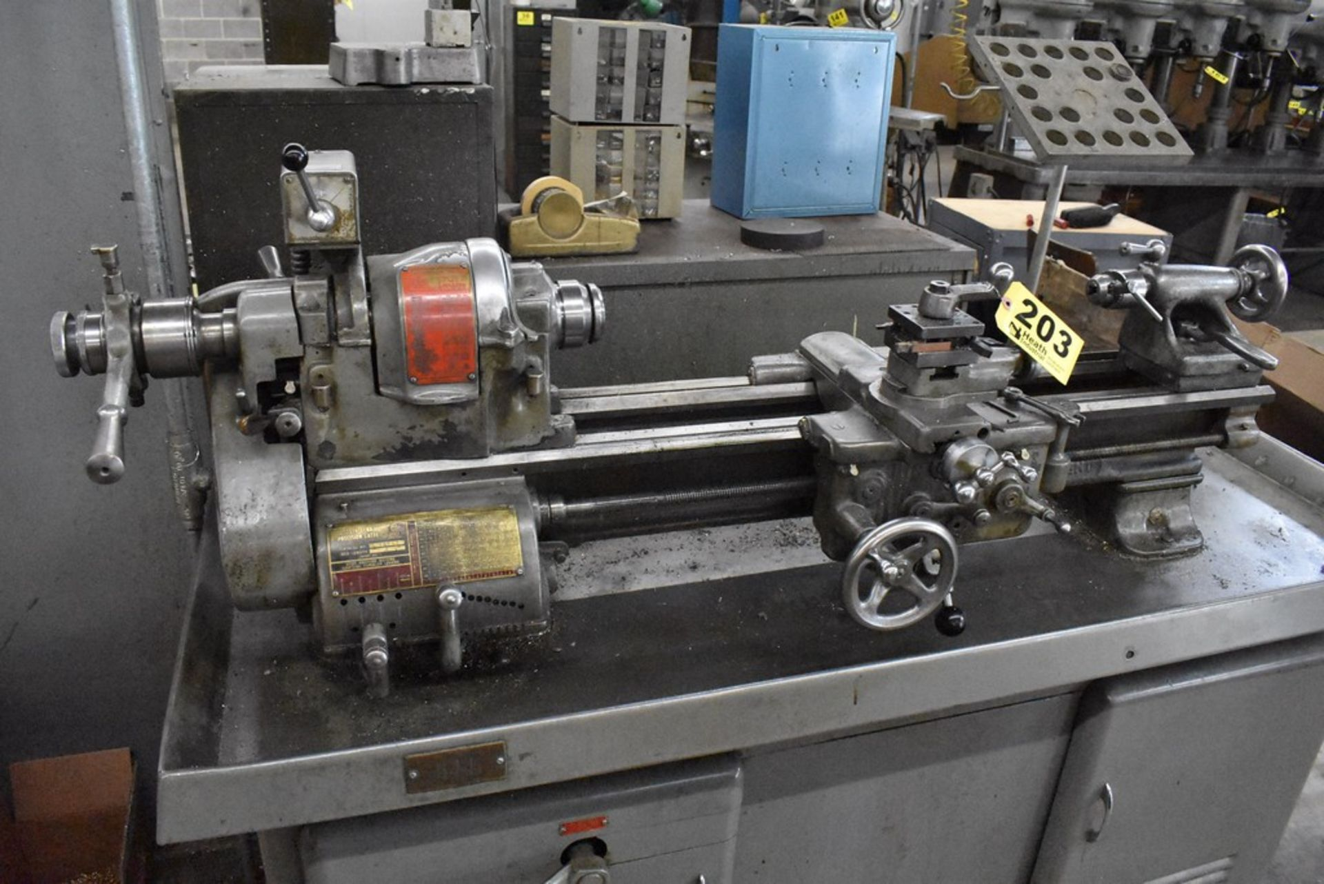 """SOUTH BEND 10""""X30"""" CABINET BASE TOOL ROOM LATHE, S/N 16711RKX12, WITH COLLET CLOSER, 4-WAY TOOL - Image 7 of 13"""