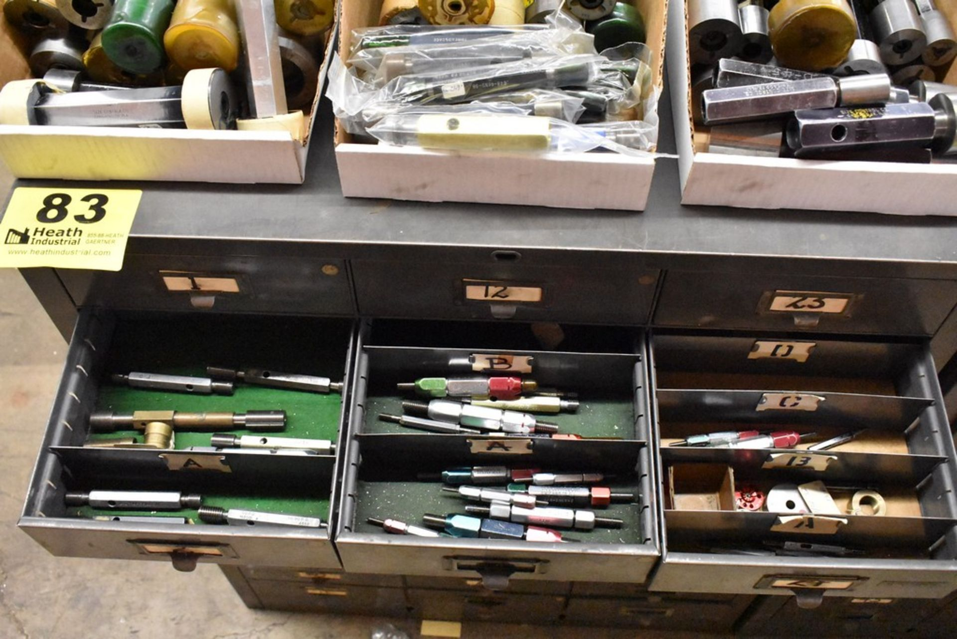 THIRTY THREE DRAWER STEEL TOOL CABINET WITH MISC. GAGES - Image 3 of 4