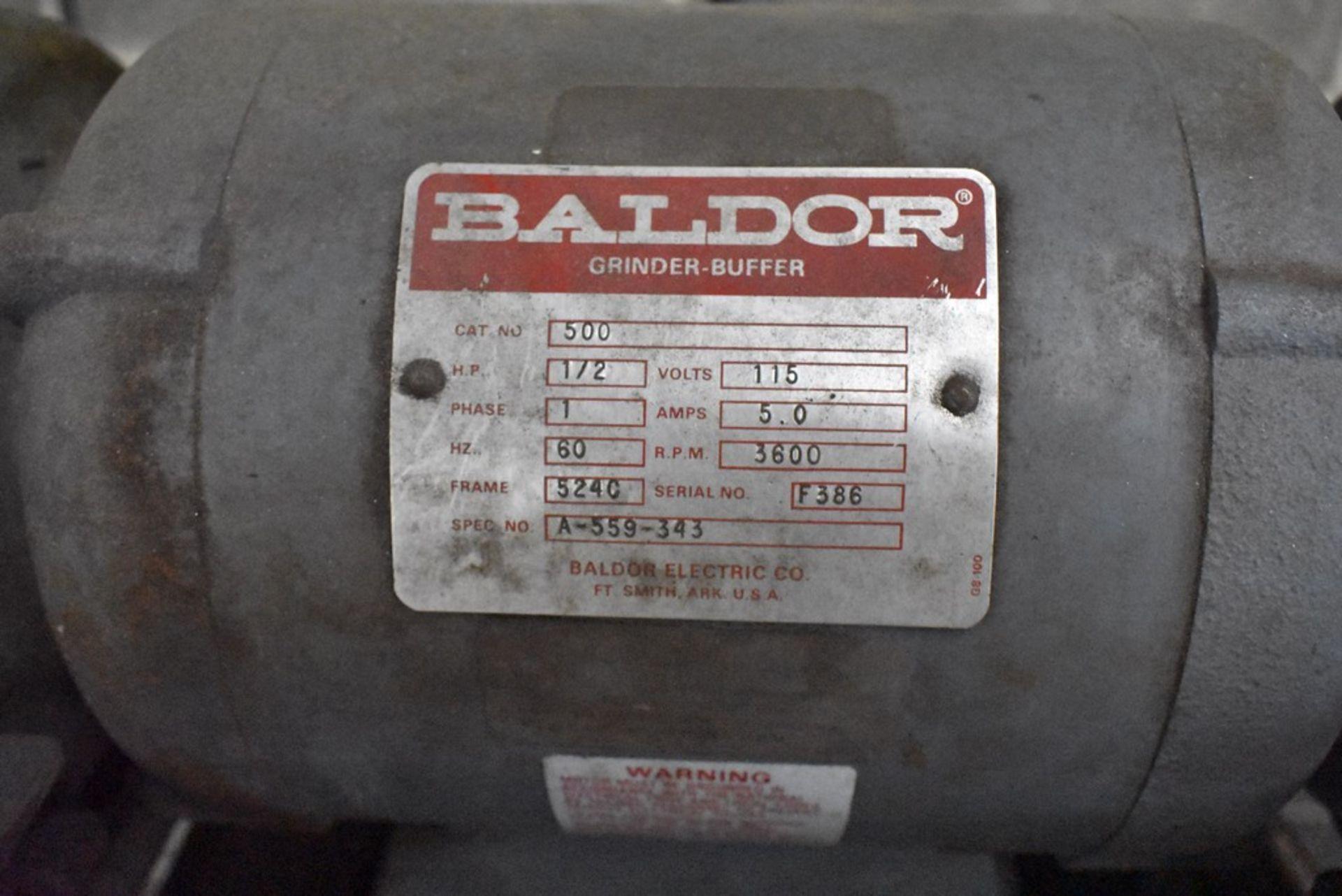 BALDOR ½ HP PEDESTAL DOUBLE END CARBIDE TOOL GRINDER, S/N A-559-343 - Image 6 of 7