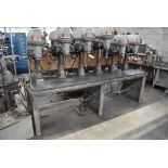 """CINCINNATI 18"""" MODEL ROYAL 6 SPINDLE DRILL, UP TO 2060 RPM SPINDLE, MOUNTED ON 24""""X106"""" PRODUCTION"""
