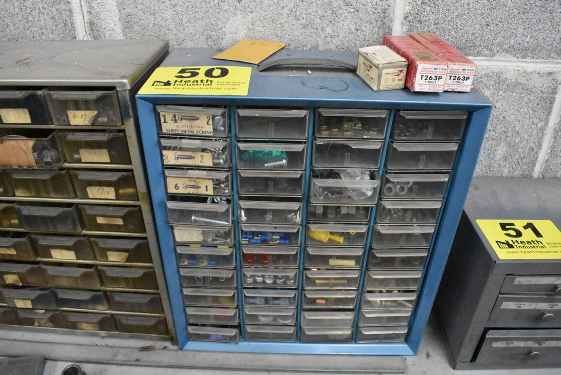 FORTY TWO DRAWER SMALL PARTS CABINET WITH CONTENTS