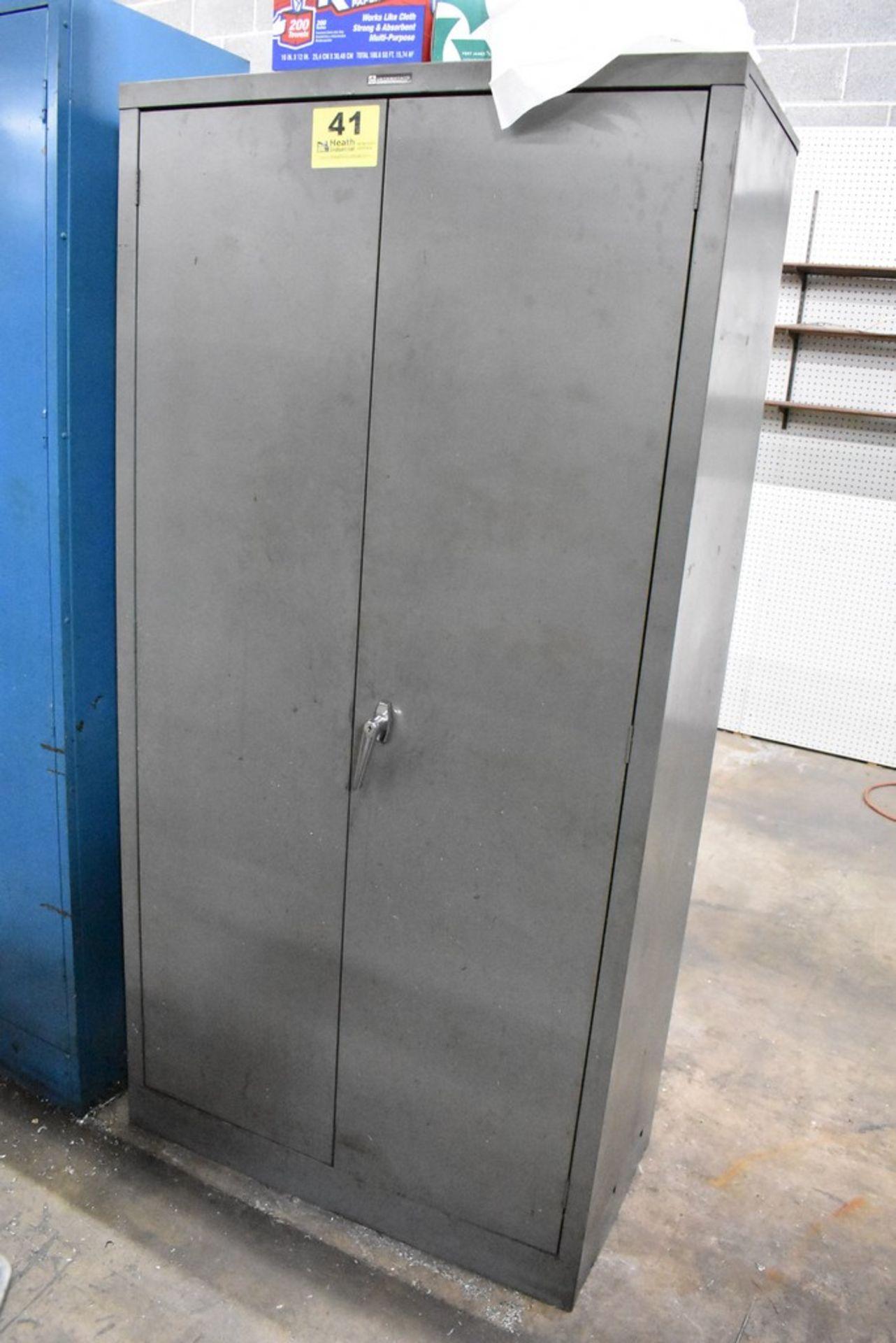 "36"" X 18"" X78"" TWO DOOR STEEL STORAGE CABINET WITH CONTENTS - Image 2 of 4"