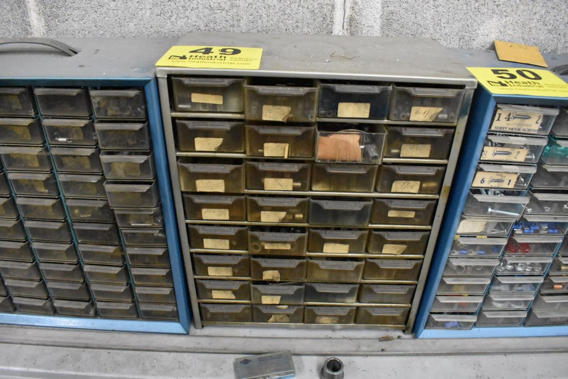 THIRTY TWO DRAWER SMALL PARTS CABINET WITH CONTENTS