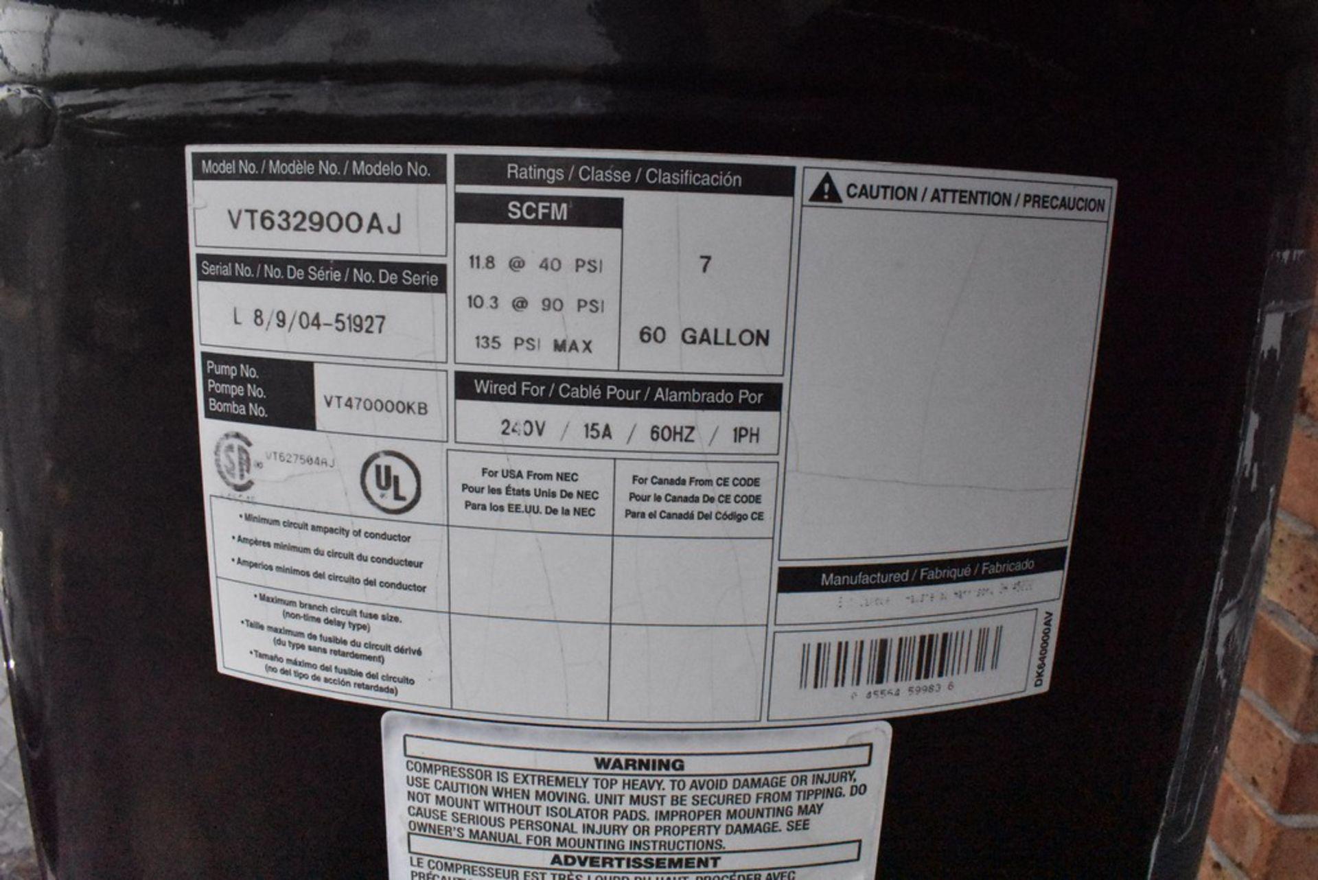 CAMPBELL HAUSFELD 7 HP VERTICAL TANK MOUNTED AIR COMPRESSOR, 60 GALLON TANK - Image 5 of 9