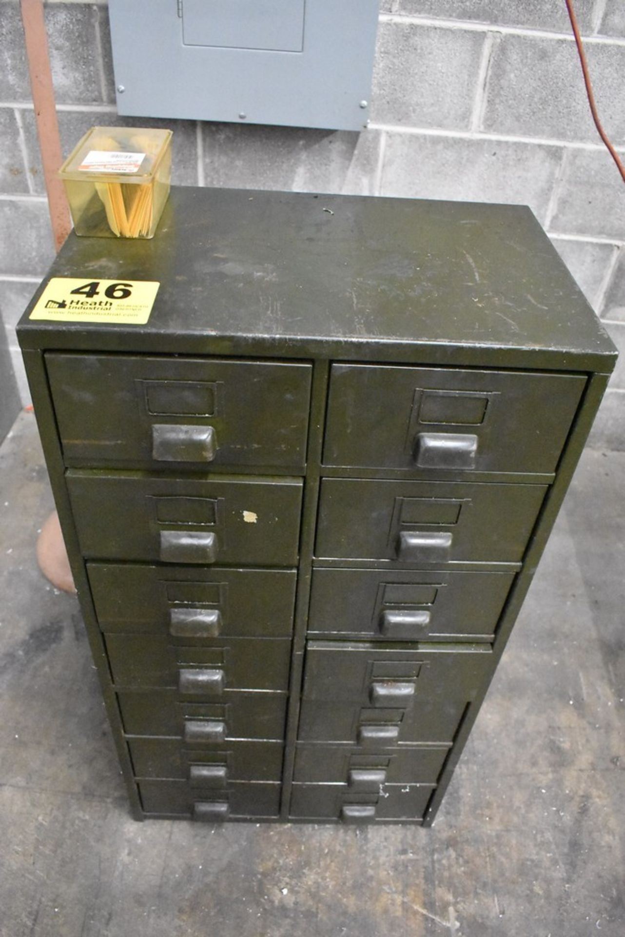 """FOURTEEN DRAWER STEEL CABINET WITH CONTENTS 21"""" X 13"""" X 39"""""""
