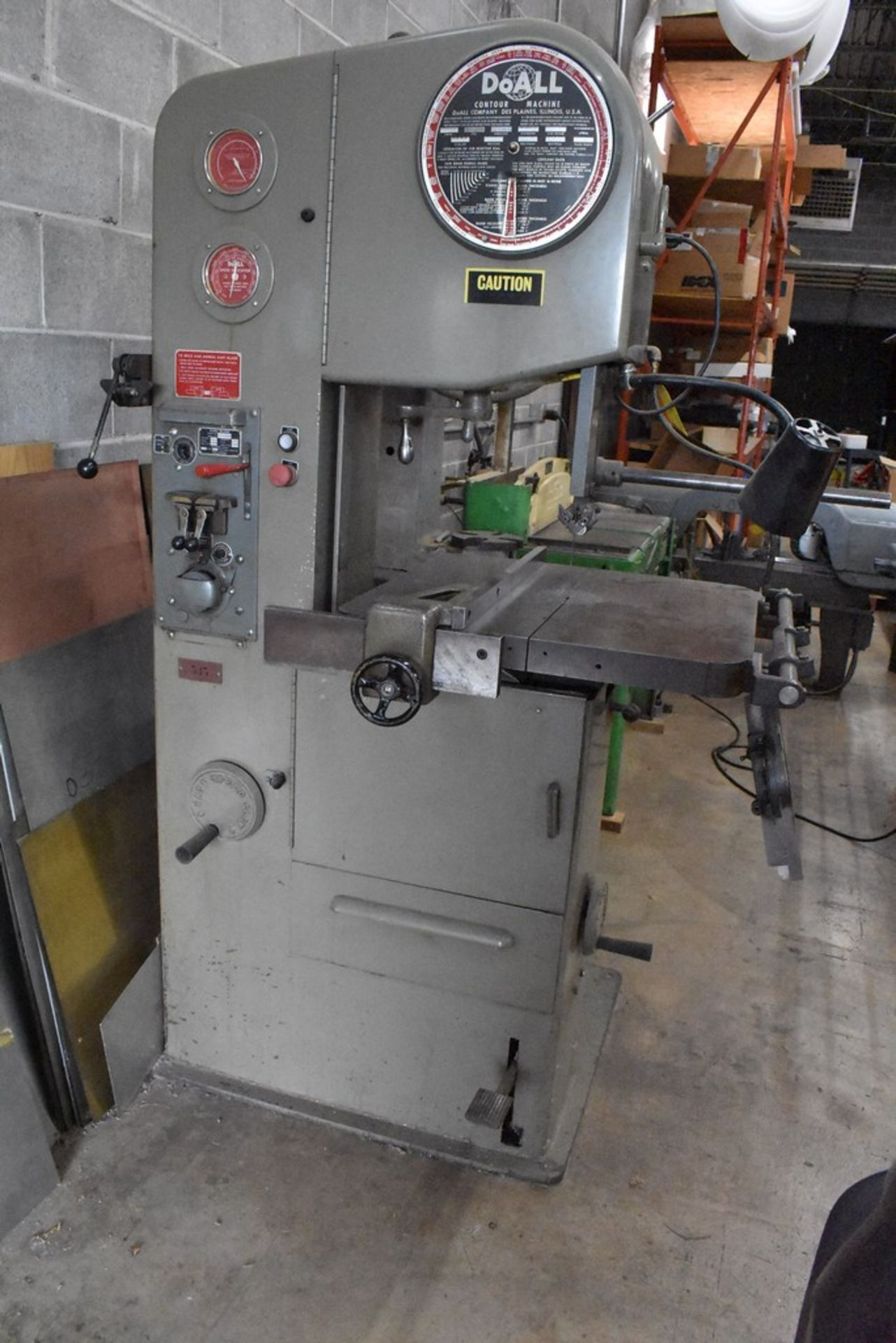 """DOALL 16"""" MODEL 1612-1 VERTICAL BAND SAW, S/N 148-681291, WITH BLADE WELDER"""