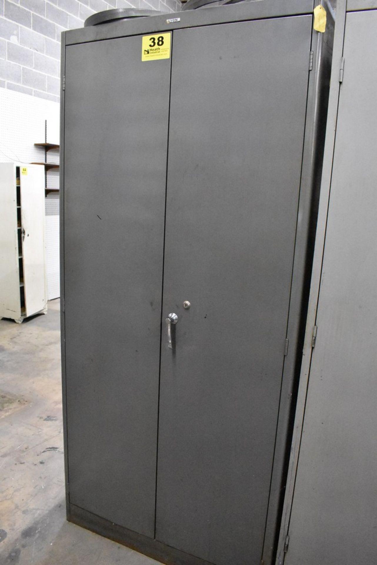 "36"" X 18"" X78"" LYON TWO DOOR STEEL STORAGE CABINET WITH CONTENTS"