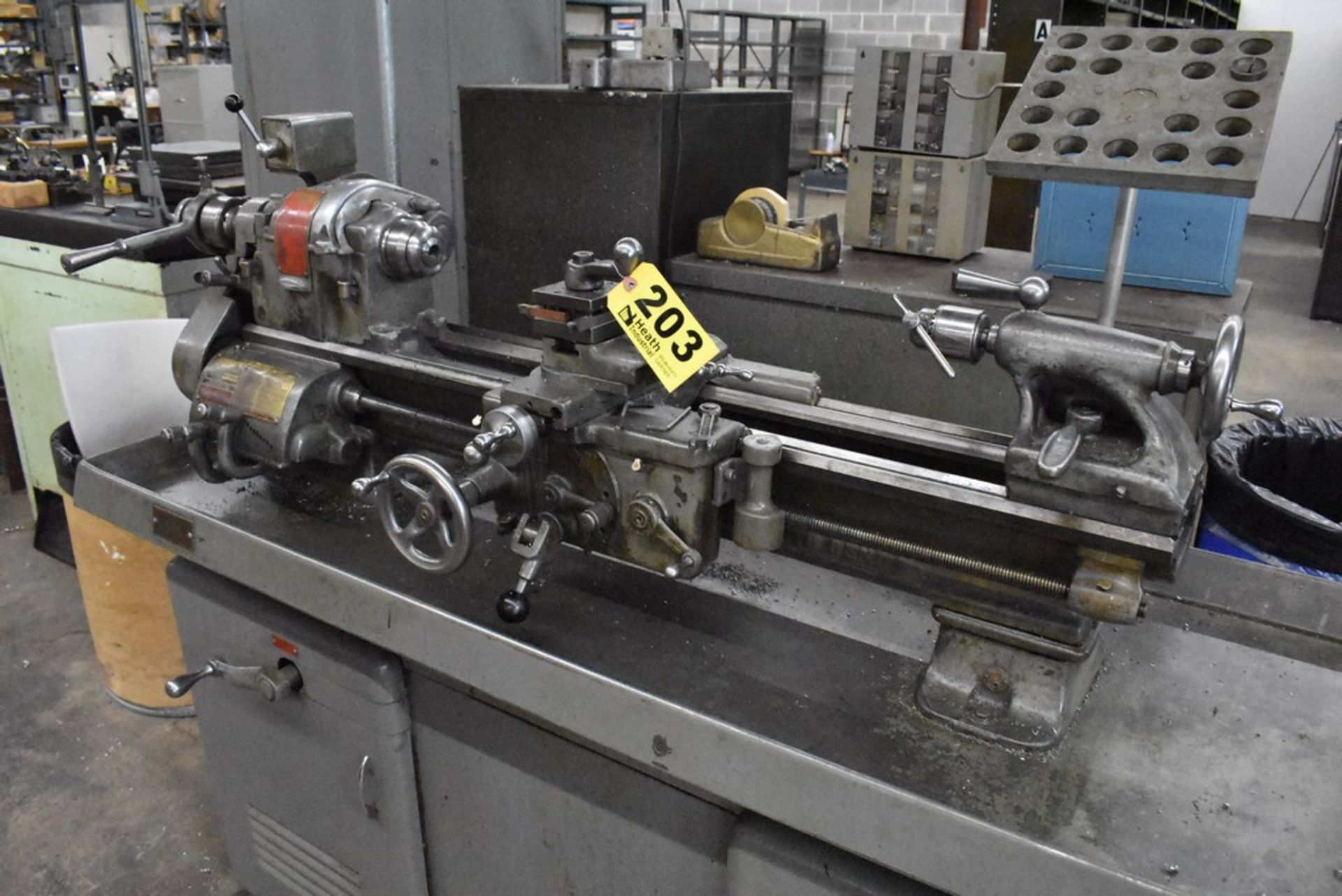 """SOUTH BEND 10""""X30"""" CABINET BASE TOOL ROOM LATHE, S/N 16711RKX12, WITH COLLET CLOSER, 4-WAY TOOL - Image 5 of 13"""