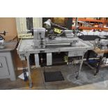 HARDINGE NO. 59 PRECISION SPLIT BED LATHE, S/N 59-16741, WITH SWIVEL COMPOUND, MOUNTED ON TABLE