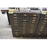 THIRTY THREE DRAWER STEEL TOOL CABINET WITH MISC. GAGES
