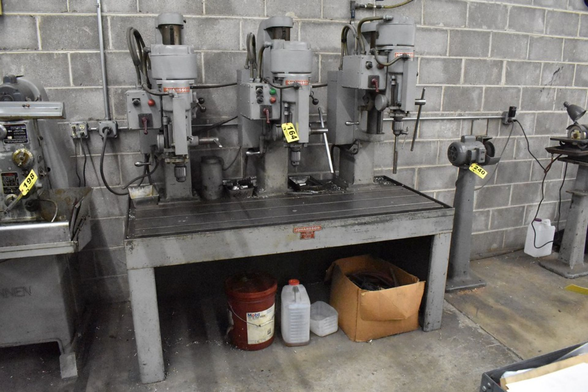 """JOHANNSEN 30"""" 3 SPINDLE DRILL, S/N 11800,11801, &11802, UP TO 1520 RPM SPINDLE, MOUNTED ON 20""""X68"""" - Image 2 of 6"""