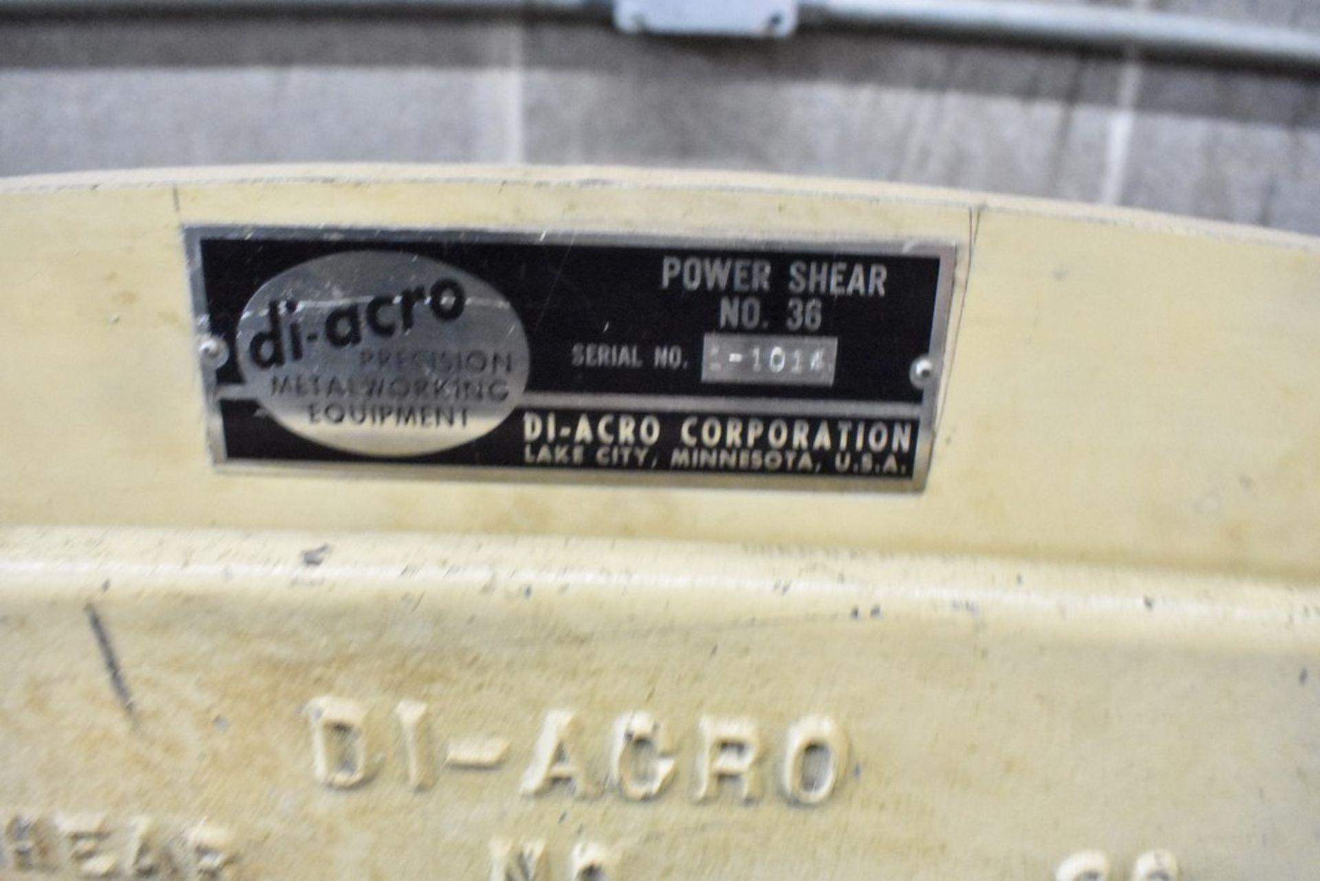 DI-ACRO NO. 36 POWER SHEAR, S/N 1-1014 - Image 2 of 7