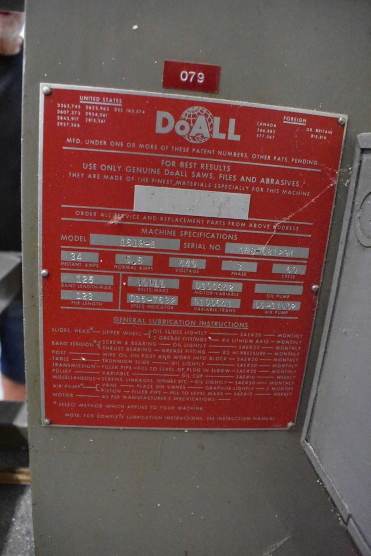 """DOALL 16"""" MODEL 1612-1 VERTICAL BAND SAW, S/N 148-681291, WITH BLADE WELDER - Image 7 of 9"""
