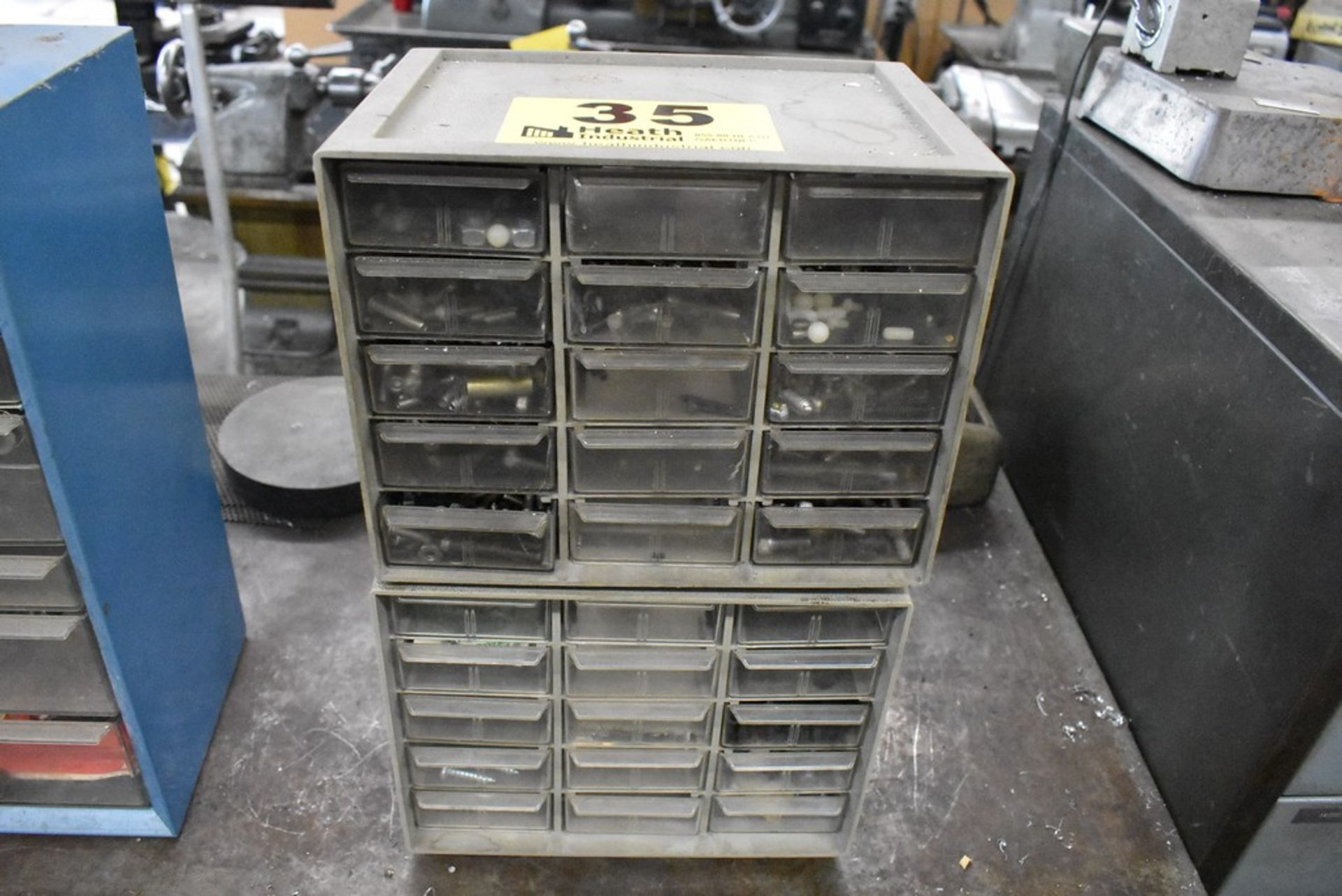 TWENTY ONE DRAWER SMALL PARTS CABINET AND CONTENTS