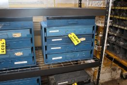 BOWMAN FOUR DRAWER PARTS CABINET, CLIPS, SCREWS, TAPER PINS & WASHERS, WITH EXTRA DRAWER