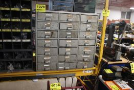 """TWENTY-ONE DRAWER STORAGE CABINET, 31"""" X 13"""" X 29"""" WITH ASSORTED ELECTRICAL FUSES, PLUGS, MISC"""