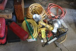 LARGE QTY OF EXTENSION CORDS & LIGHTS