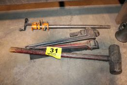 ASSORTED TOOLS: SLEDGE HAMMER, PIPE WRENCH, BAR CLAMP, ETC