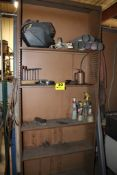 ADJUSTABLE SHELVING UNIT WITH CONTENTS: WELDING MASK, RODS, ETC.