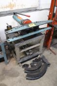 """HYDRAULC TYPE F-18 TUBE BENDER, 3/8"""" - 3"""" CAPACITY, WITH ASSORTED DIES, ALUMINUM FABRICATED BENCH"""