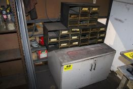 PORTABLE STEEL CABINET WITH (3) SMALL PARTS CABINETS