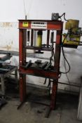 """AMROX H-FRAME PRESS, 24"""" X 38"""" H (ADJUSTABLE), WITH ENERPAC RAM & HAND PUMP POWER PACK"""